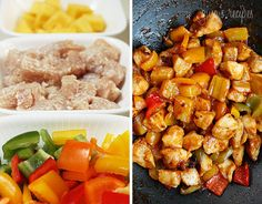 Thai Chicken and Pineapple Stir Fry Recipe Main Dishes with boneless, skinless chicken breast, Thai Kitchen Fish Sauce, corn starch, oil, minced garlic, ginger, bell pepper, pepper, pineapple chunks, pineapple, coriander leaf