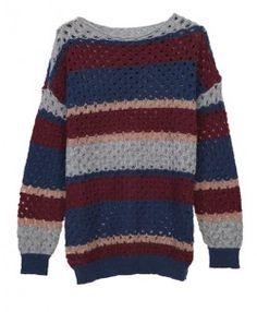 Wool Blend Scoop Neckline Stripe Knitwear with Cut Out Design