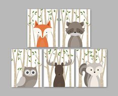 Forest Animal Wall Art for a woodland themed Nursery - Cute forest animals decor for kids bedroom or nursery. This lovely wall art of four prints features the cutest woodland animal illustrations: Fox Raccoon Squirrel Moose and Hedgehog on a birch tree background. The background color