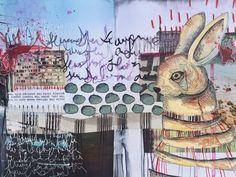 """transit"" art journal spread by artist Roxanne Coble (aka 'By Bun')"