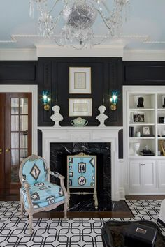 Moldings and white fire place - navy walls -   House of Turquoise: W Design Inc + Pine Cone Hill Giveaway!