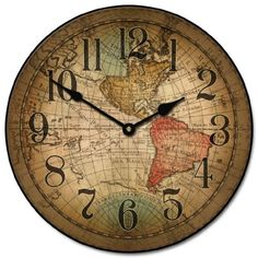 "Vincenzo World Map Wall Clock, 10"" - 60"", Whisper Quiet, non-ticking *** Click image for more details."