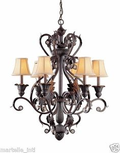 Tuscan wrought iron chandilier with shades | Dark Rust Handpainted Wrought Iron Chandelier w 6 Lights Shades New ...