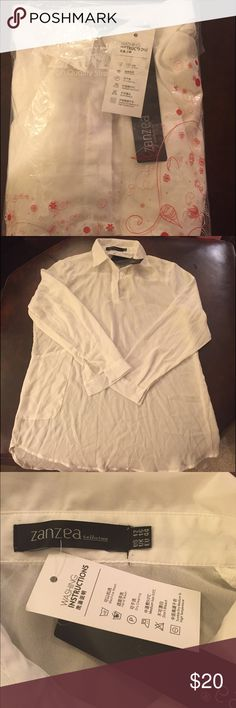 Women's white silk blouse. Women's Zanzea brand, 3/4 sleeve, white blouse with 1 front pocket on right hand side. Tags say it's a size 12. I am 5'4 and it goes almost to my knees and I am swimming in it. Totally an XL. Ordered from Germany and cannot return it. Can't remember if this is silk or not; I think so. packaging is in German so can't be certain. Light weight and flowy. Took out of plastic to take a pic. Brand new!! Longer in front than in back. Zanzea Tops Blouses