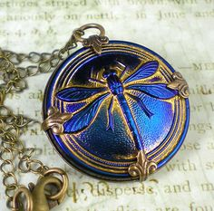 Dragonfly Necklace Sapphire Blue Button Czech Glass Oxidized Brass Vintage Inspired Dragon Fly Necklace Jewelry Prom Wedding. $24.00, via Etsy.