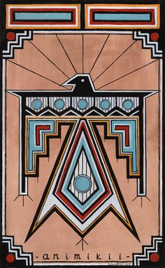Thunderbird Animiki Print of Original Painting Native American Tattoos, Native American Decor, Native American Patterns, Native American Paintings, Native American Pictures, Native American Symbols, American Indian Art, Southwestern Quilts, Southwest Art