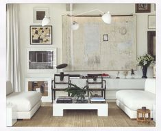 William McLure contemporary interiors - white on white living room - custom abstract art Kelly Green, Birmingham, White Painted Floors, Villa, Coffee And End Tables, Design Blogs, Design Ideas, Contemporary Interior, Decoration