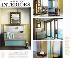 """When Line Vautrin's mirrors inspire today's designers : """"In a contemporary art collector's apartment in (...) Gstaad, Mattia Bonetti has conceived an elegant foil (...) for a mid-century (Florence) mirror by French jeweller Line Vautrin"""", in The World of Interiors, May 2015."""