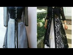 Designer long dress with open front jacket| front slit kurti cutting and stitching - YouTube