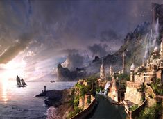 Free Fantasy wallpaper and other Abstract desktop backgrounds- Page 172 . Get free computer wallpapers of Fantasy. Medieval Fantasy, Sci Fi Fantasy, Fantasy World, Art Et Illustration, Illustrations, City Wallpaper, Wallpaper Backgrounds, Fantasy City Names, Fantasy Name Generator