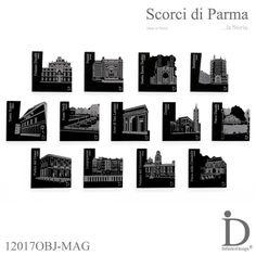 """COFANETTO REGALO 13 Magneti in plexiglass nero, della Collezione Scorci di Parma, tagliati al laser ed incisi. Oggetto: i Magneti di Parma {Cofanetto} - - - - - - - - - - - - - - - - - - - - - - - - - - - - - - - - GIFT BOX 13 Magnets black plexiglass, from """"Scorci di Parma"""" Collection, laser-cut and engraved. Subject: The Magnets Parma {Box} - - - - - - - - - - - - - - - - - - - - - - - - #magneti #plexiglass #parma #madeinitaly #gift"""