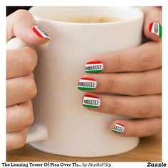 The Leaning Tower Of Pisa Over The Italian Flag Minx® Nail Wraps