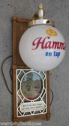 vintage Hamm's beer globe wall sconce sign