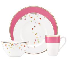 kate spade new york Market Street Pink Dinnerware Casual Dinnerware, Bath And Beyond, Plates And Bowls, Pink Plates, Fine Porcelain, Dinner Plates, Dessert Plates, Dinner Dishes, Kate Spade