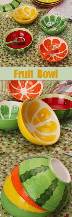 us$4.56 - Handmade Ceramic Bowl Hand Painted Fruit Watermelon Rice Bowl Soup Ceramic Bowl#newchic#dinner#handmade#food#dinner