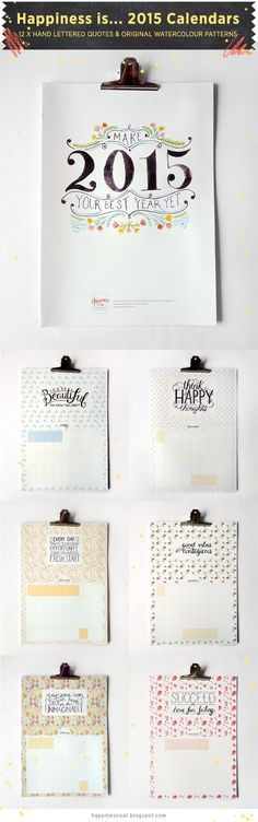 Happiness is... 2015 Calendar - 12 x hand lettered quotes and watercolour patterns