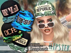 Created By Pinkzombiecupcakes PZC_Hipster Collection Snapback 01 Created for: The Sims 4 Available in 14 designs and colors. Male and female. Sims 4 Mods, My Sims, Sims Cc, Sims 4 City Living, Hipster Women, Sims 4 Build, Sims 4 Game, Sims Community, Sims 4 Clothing