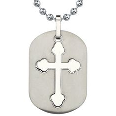 Fashionable Faith: Titanium Dog Tag Pendant with Cut-out Medieval Cross on a Stainless Steel Ball Chain (Medieval / Goth Style) Pendant :::