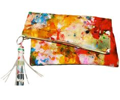 Large Hand Painted Multicolor Canvas Clutch with Leather Tassel