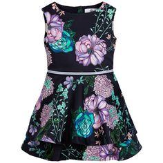 Young Versace - Girls Navy Blue Floral Print Dress | Childrensalon