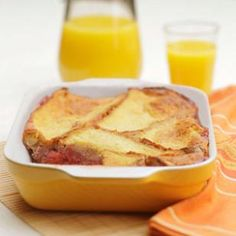 Studded with strawberries, this breakfast recipe is a cross between a baked French toast and a dessert bread pudding. Swap in almost any fruit depending on what's in season.