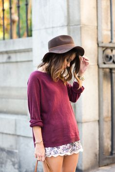 #fall #fashion - maroon jumper BUT wit dark florals for a more grungy look...x