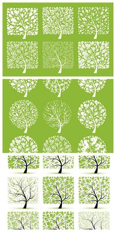 Green Spring Trees Vector