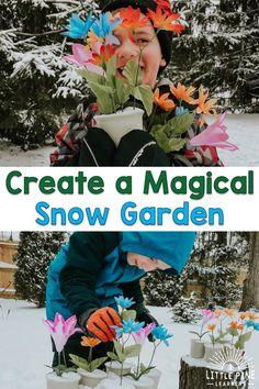 Create a Magical Snow Garden Winter Outdoor Activities, Snow Activities, Motor Skills Activities, Christmas Activities For Kids, Nature Activities, Toddler Activities, Outdoor Education, Outdoor Learning, Early Education