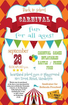 school carnival poster image - Google Search