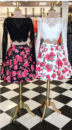 2016 new two piece homecoming dresses, long sleeves homecoming dresses, lace homecoming dresses, floral homecoming dresses, party dresses