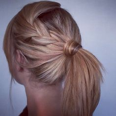 side braid into pony for medium layered hair