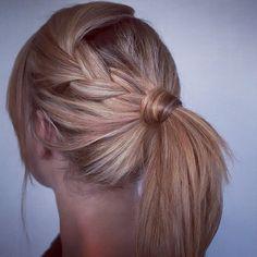side braid into pony for medium layered hair