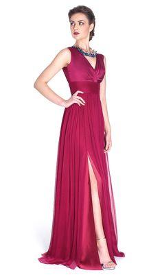 Vestido longo fúcsia em seda - Aluguer de vestidos Cristallini - Frente