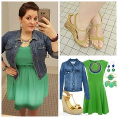 #ChubbyChique 7-30-2015 #ootd #julypinneditspinnedit @aem8168 @jro1583 #nopantsjuly Green dress by #Mossimo via #Target #TargetStyle , denim jacket by @kutfromthekloth #kutfromthekloth via #keatonrow , gold wedge sandals by #Bongo #100ShadesofShoefies , gold blue and yellow Suzanne necklace via @diaandco #diaandco , blue and green flower drop earrings via @dazzleybox #Dazzley #dazzleybox , Bling It On cuff bracelet by #Marc by #MarcJacobs via @gilt #Gilt #GiltGroupe, opalescent bracelet via…