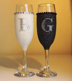 Bride and Groom Glitter Champagne Glasses