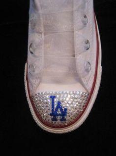 Custom Sports baseball LA los angeles Dodgers white converse swarovski crystals. $125.00, via Etsy.
