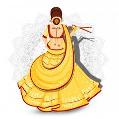 Back view of beautiful woman holding dandiya sticks on white mandala floral background. Girl Drawing Sketches, Girly Drawings, Cool Art Drawings, Pencil Art Drawings, Beautiful Drawings, Dance Paintings, Indian Art Paintings, Mandala Drawing, Mandala Art