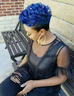 hair in 2019 прически, стрижка Short Hair Syles, Short Blue Hair, Short Sassy Hair, Cute Hairstyles For Short Hair, Short Hair Cuts, Black Hair, Bold Hair Color, Beautiful Hair Color, Relaxed Hair