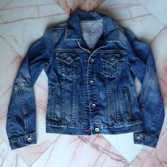 Gap denim jacket Great denim jacket. Gap does a great job of distressing their denim and making it very comfortable to wear with out having to break it in. I can bundle  GAP Jackets & Coats Jean Jackets