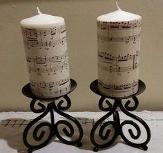 Sheet Music Crafts, Music Paper, Sheet Music Decor, Sheet Music Ornaments, Fancy Candles, Vintage Candles, Diy Candles, Gift For Music Lover, Music Gifts