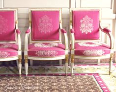 Pink Paris Chairs - 8x10 Photo Print, Versailles, France - Marie Antoinette, Pink, Brown, Ivory - Chateau, Furniture, Rococo, Bright, Travel. $18.00, via Etsy.