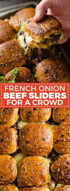 French Onion Beef Sliders For A Crowd. This is one appetizer recipe you don't want to skip. Serve it for the Super Bowl and watch how quickly these little sandwiches disappear. | hostthetoast.com