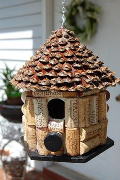 Wine Cork and Pine Cone Bird House. House roof made of Pine Cone. Wine Cork themed house
