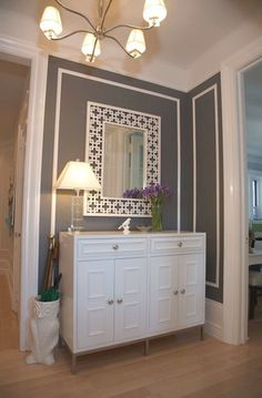 Digg'in the trim around this wall with the punch of color. Dining Room idea