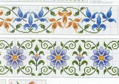 Blue Cross Stitch Borders, Cross Stitch Rose, Cross Stitch Flowers, Cross Stitching, Cross Stitch Patterns, Beaded Embroidery, Embroidery Stitches, Hand Embroidery, Seed Bead Flowers