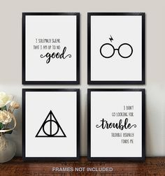 Confetti Fox Harry Potter Wall Art - Set of 4 Unframed Pearl Prints - Muggles Wizard Poster Decor Quotes and Sayings Gift for Home, Bathroom, Bedroom, Kids, Baby Harry Potter Wall Art, Harry Potter Painting, Harry Potter Nursery, Theme Harry Potter, Harry Potter Poster, Harry Potter Drawings, Harry Potter Wallpaper, Harry Potter Diy, Harry Potter World