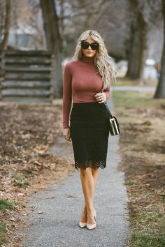 Cara Loren wears this tight fitting ribbed turtle neck top with a black lace midi skirt; a simple and stylish way to wear the trend. Wear this look with tights and a cropped jacket on colder days for. Classy Outfits, Beautiful Outfits, Fall Outfits, Cute Outfits, Fashion Outfits, Skirt Outfits, Dress Skirt, Midi Skirt, Black Lace Skirt