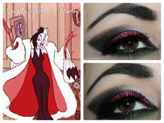 Today I'm sharing a look that I did inspired by a Disney character. This time around, I chose to get inspired by a villain from the 101 Dalm. Disney Villains Makeup, Disney Eye Makeup, Disney Inspired Makeup, Halloween Make Up, Halloween Face Makeup, Halloween Costumes, Halloween Ideas, Cruella Deville, Mommy Makeover