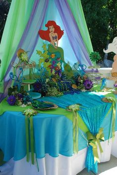tablecloth deco for food table~~Mermaid/Sea party