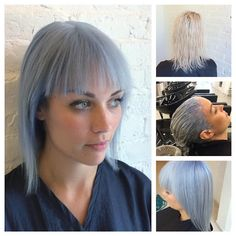At our salon, feeling blue is a great thing! Michelle used Wella Professionals USA Color Touch Instamatic matte gloss in Ocean Storm on her client Elle for a soft baby blue. #bluehair